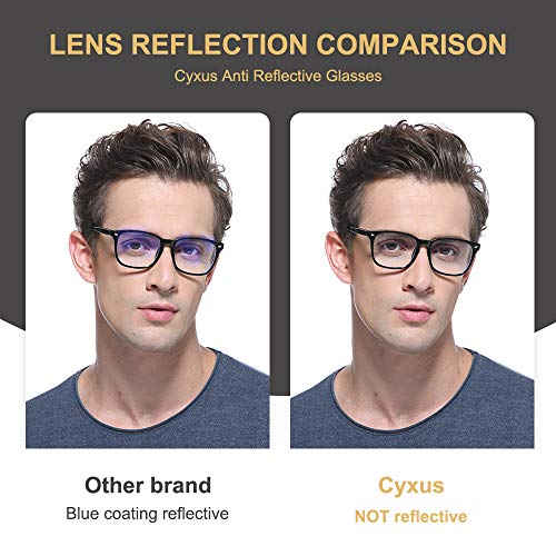 51HwInI755L - Cyxus Blue Light Filter Computer Glasses for Blocking Headache [Anti Eye Eyestrain] Transparent Lens Gaming Glasses, Unisex (Men/Women)