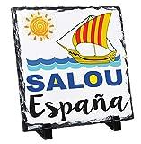 Teesquare1st Salou Spain - Rock Slate Photo Gift, Foto en Piedra Pizarar Rock Photos Imagen Cuadro Cuadrado