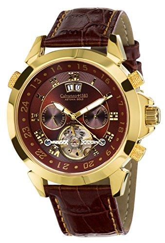 Calvaneo 1583 Herren-Armbanduhr Astonia Luxury Cognac Gold Analog Automatik Leder braun 107924