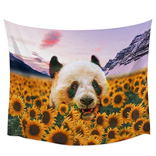 WAXB Tapiz De Panda De Girasol para Colgar En La Pared Decoración del Hogar Sala De Estar Dormitorio Esterilla De Yoga Tapices De Gran Tamaño Decoración del Hogar Regalo 51 X 59 Pulgadas