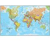 Maps International - Mapa del mundo gigante, póster político con el mapa del mundo, plastificado - 197 x 116,5 cm
