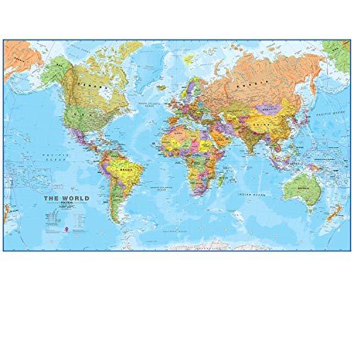 Maps International - Mapa del mundo gigante, póster político con el mapa del mundo, plastificado -...
