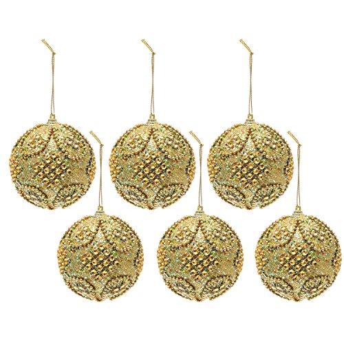 Tinksky Gli ornamenti lussuosi variopinti lussuosi variopinti 6PCS 8CM dell'albero di Natale della sfera della gomma piuma di natale dei Rhinestones di scintillio