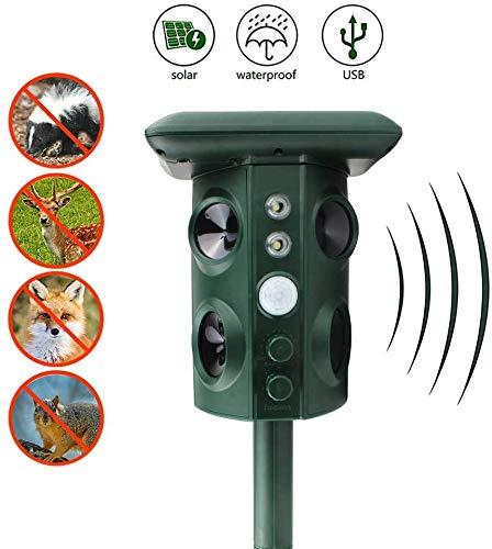 ZLGP Repeller Animal Capteur PIR Extérieur étanche Garden Anti Cat Dog USB Alarme à ultrasons Solaire unité Repeller