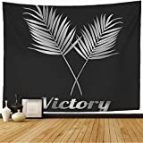 Starojul Tapestry Gray Plant Tree Trophy Palm Leaf Victory Grey People Sport Green Award Black Earth Branch Champion Tapestry Wall Hanging Blanket Wall Bedroom Decor 80x60 Inch