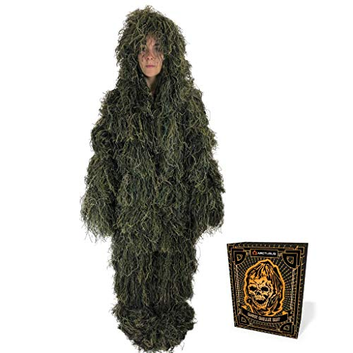 Arcturus Ghost Youth Ghillie Suit | Dense, Double-Stitched Design | Camouflage Hunting Clothes for Military, Snipers, Hunters, Airsoft