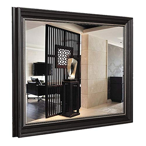 Zjnhl Household Necessities/Bathroom Mirror Retro American Bathroom Cabinet Mirror Wall Hanging Bedroom Decorative Mirror Beveled Mirror Woman's Best Gift (Color : Black, Size : 60X80CM)