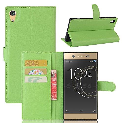 Sony Xperia XA1 Hülle GOGODOG Ultra Schlank Leder Stoßstange Voll Karosserie Schutz Brieftasche Geschäft Stil mit Stand Funktion & Auto Schlaf Aufwachen Oben (Grün)