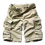 Homme Cargo Short de Loisir Travail Casual Imprimé Bermuda Pantalon Court Multi Poches Vintage Coton Short Homme Pas Cher