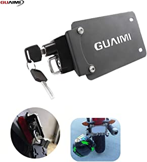 License Plate Helmet Security Lock with Mount Left Side Anti-Theft Helmet Lock Universal Fit for Motorcycles with Flat Brackets