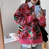 Jerséis Suéter para Mujer - Jerseys con Estampado Floral De Streetwear Vintage, Sudaderas Holgadas De Estilo Coreano Harajuku para Mujer, Camisetas De Moda para Estudiantes, Rojo, S