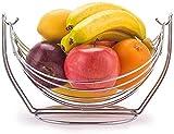 Panier de fruits, conception de hamac à oscillation, métal chromé, bol en rack de fruits de grande capacité, Légumes de fruits Légumes de stockage Porte-stand, décoration moderne pour la maison de cui