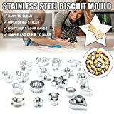 24 Pcs Cookie Cutters Set, Various Images Mini Biscuit Cutters Stainless Steel Three-dimensionaldiy Baking Pastry Cutters, for Pastry Fondant Diy Baking