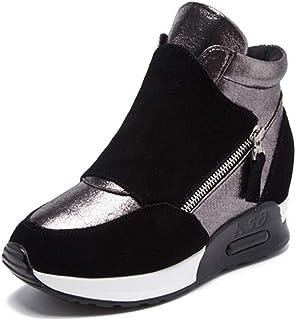 Scarpe invernali da donna calde sneakers alte in peluche con zeppa Stivali da neve in pelle scamosciata con zip