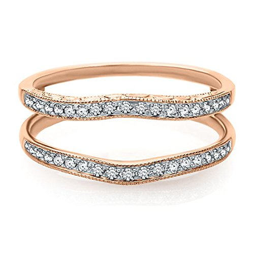 Silver Gems Factory 14K Rose Gold 1/4ct Solitaire Enhancer Simulated Diamonds Ring Guard Wrap Wedding Band 8 (0.25 Ct Gems)