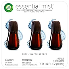 Transforms natural essential oils into gentle mist Each refill provides up to 45 days fragrance based on low setting Easy to change out the refills, each refill comes ready to use, no need to add water This gentle fragrance will remind waterfalls as ...