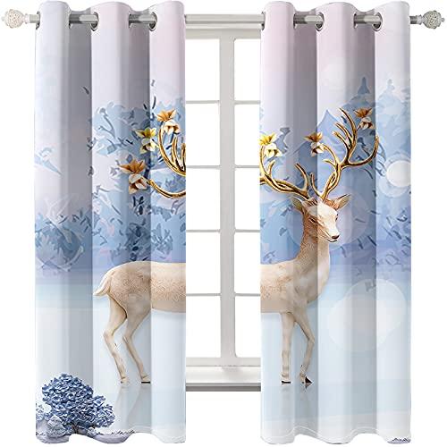 Las Cortinas Impresas De La Serie Deer, Modernas Y Sencillas, No Tienen Perforaciones Y Son Fáciles De Instalar. Las Cortinas Opacas Se Pueden Usar En La Sala De Estar, El Dormitorio Y El Balcón.