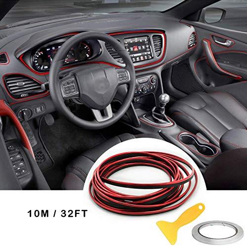 Auto Innenraum Zubehör/Interior Dcoration,Auto Zierleiste,YY-LC Einfacher Push-In Entfernbar 3D DIY Auto-Anreden,Für Universal-Autozubehör (Rot 10m)