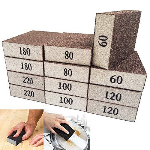 12 Pack Sanding Sponges,Wet Dry Sanding Blocks,Coarse Medium Fine Sponge Sandpaper Assortment 60/80/100/120/180/220 Grits for Wood,Drywall,Metal Polish,Pot Brush