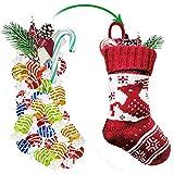 DJXLMN 3PCS Calcetines de Navidad, patrón de Ciervos de Copo de Nieve de Punto Calcetines de Navidad Bolsas de Regalo, Decoraciones para árboles de Navidad