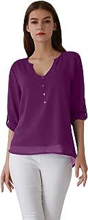 OMZIN Women's Casual Chiffon Button V Neck Blouses Shirts Long Sleeve Top