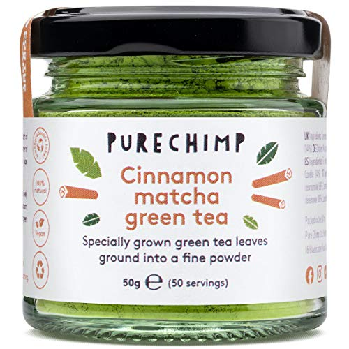 Cinnamon Matcha Green Tea Powder 50g by PureChimp | Ceremonial Grade from Japan | Pesticide-Free | Recyclable Glass Jar & Aluminium Lid