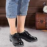 SALUTUYA Zapatos de Baile Zapatos de claqué Suaves y Transpirables, para Proteger la(Black Bright Leather 36)