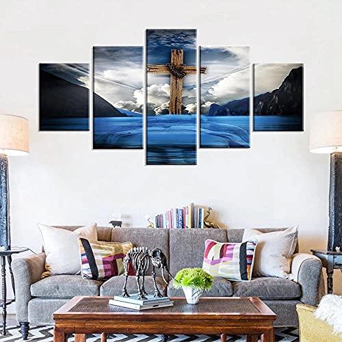 BHJIO Cuadro sobre Lienzo - 5 Piezas Jesús - Cuadro De Pintura Póster De Arte Moderno Oficina Sala De Estar O Dormitorio Decoración del Hogar Arte De Pared 80X150Cm