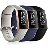 Maledan Compatible with Fitbit Charge 3 and Charge 4 Bands for Women Men Large Size Waterproof Sport Strap Replacement Band for Charge 4/Charge 3/Charge 3 SE, 3 Pack Black/Blue/Slate Gray