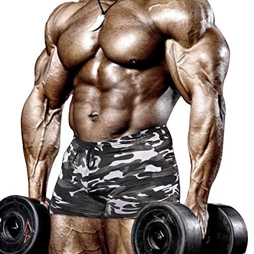 Muscle Alive Uomo Stretto Bodybuilding Allenarsi 4 Pollici Pantaloncini Fitness Palestra Esercizio Sportivo Nero Camo L
