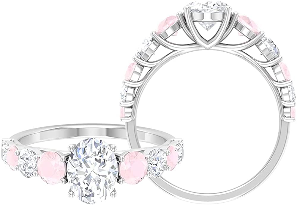 2.75 CT Classic Ring with Moissanite Pink Onyx Created Max 90% OFF Soli and Max 47% OFF