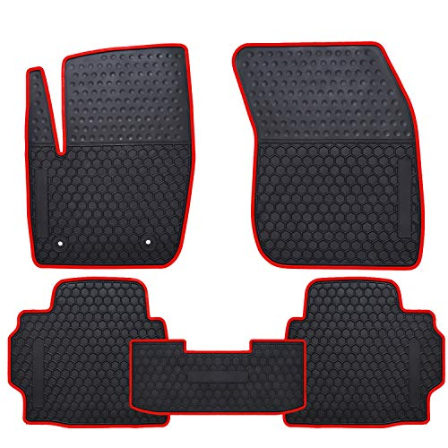 Ucaskin Car Floor Mats Custom Fit for Ford Fusion 2013 2014 2015 2016/2013-2016 Lincoln MKZ Odorless Washable Rubber Foot Carpet Heavy Duty Anti-Slip All Weather Protection Car Floor Liner-Red