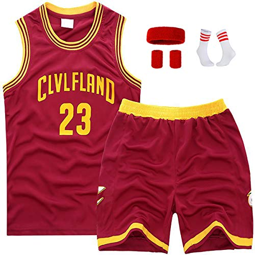 BCVDF Kinder-Basketball-Uniform-Set, Lebron James Nr. 23 Cleveland Cavaliers Swingman-Trikotoberteil und -Hose, Fan-Trikot-CLVLFLANDred23-2XL