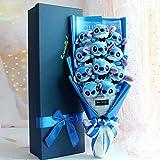 N/L Dibujos Animados Stitch Bouquet Peluches, Flores Artificiales de jabón Suave de Rose Once, Regalo de cumpleaños de la Boda del día de San Valentín 58x25x12cm Azul