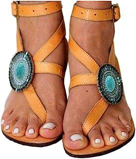 azmodo Thong Bead Buckle Gladiator Beach Flat Sandals 1625-2