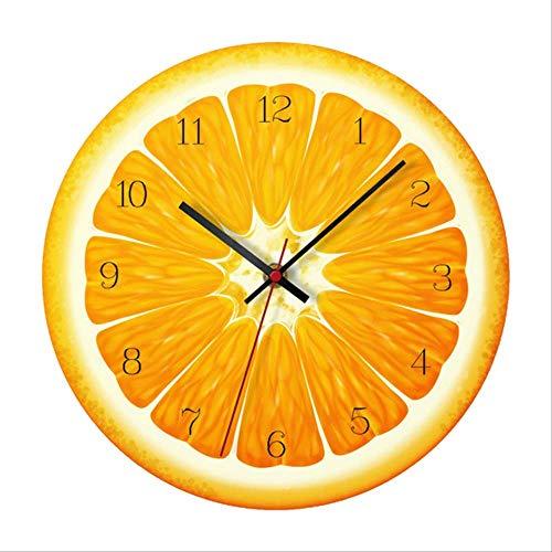 Xyxiaolun Reloj De Pared De 12 Pulgadas con Patrón De Frutas De Colores, Reloj Despertador Colgante, Decoración del Hogar Naranja