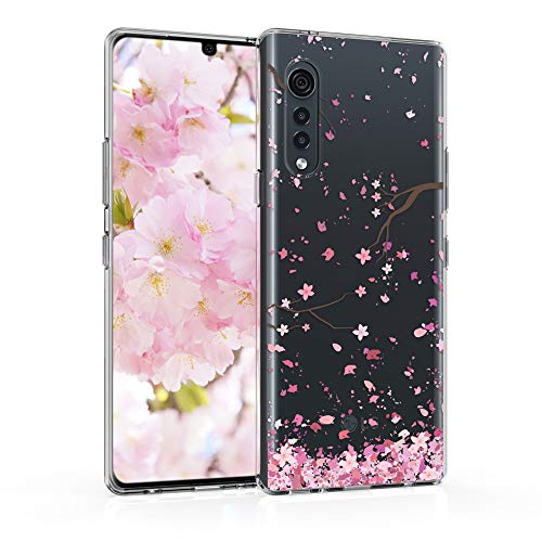 kwmobile Hülle kompatibel mit LG Velvet - Hülle Silikon transparent Kirschblütenblätter Rosa Dunkelbraun Transparent