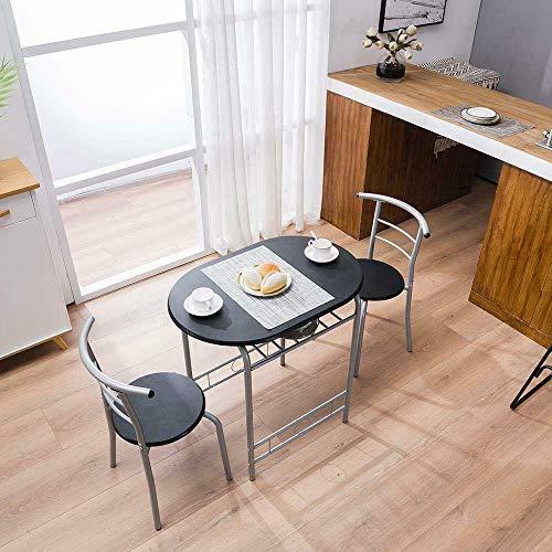 BaiHogi Mesa de Cama, Durable 3 Piezas de Comedor Mesa de Metal y 2 sillas Cocina Desayuno Muebles