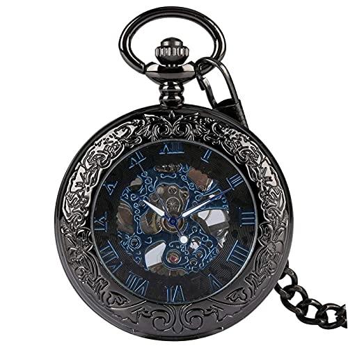 Jingyu Reloj Bolsillo Retro, Relojes Colgantes, Elegantes números Romanos Azules, Reloj Bolsillo mecánico Transparente, Reloj Bolsillo, Reloj Antiguo, Regalo Hombres y Mujeres