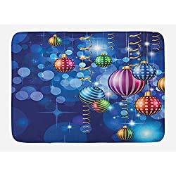 Ambesonne Christmas Bath Mat, Happy New Year Party Celebrations with Swirling Ornaments and Balls Print, Plush Bathroom Decor Mat with Non Slip Backing, 29.5 X 17.5, Indigo