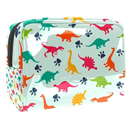 TIZORAX Kosmetiktasche mit Dinosaurier und Drucken, PVC, Make-up-Tasche, Reise-Toilettenartikel, praktischer Beutel, Organizer für Frauen