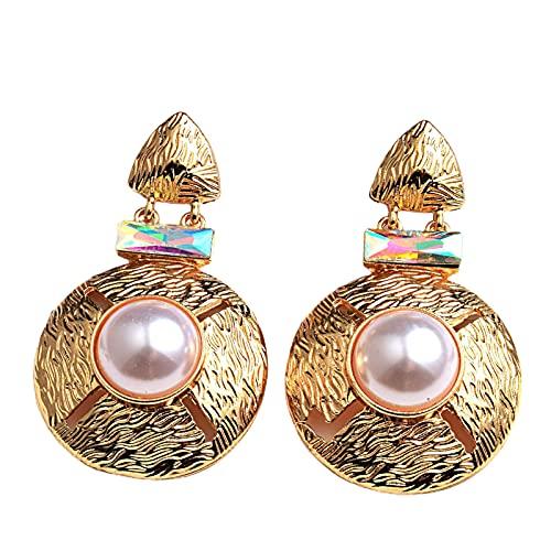 Moares Pendientes para mujer, 1 par de pendientes redondos de aleación de imitación de perlas exageradas para ir de compras, color blanco, Metal,