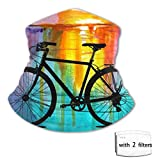 Boys Girls Face Mask Life is Better On A Bike Watercolor Bandana Headwear Casual Headband Neck Gaiter Scarf with 2 Filter