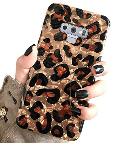 J.west Galaxy Note 9 Case, Luxury Sparkle Glitter Bling Leopard Cheetah Print Translucent Soft Silicone Slim Fit Protective Phone Case Cover for Girls Women for Samsung Galaxy Note 9 6.4-inch