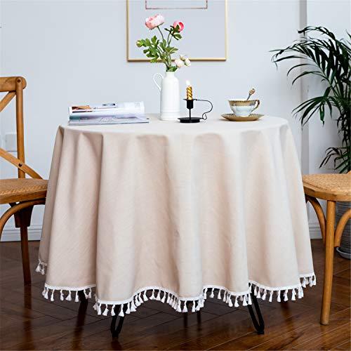 YOUZI Tovaglia Rotonda, Lavabile, tavolino da caffè per Feste da Matrimonio Impermeabile da Cucina Tavolo da Pranzo da Giardino Beige Diametro 180 cm