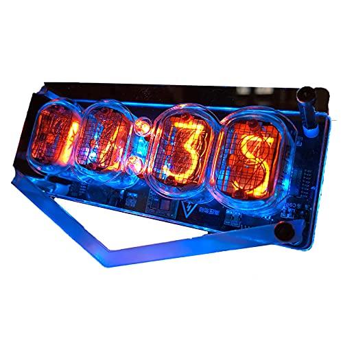 Glow Tube Clock 4 Bit Retro IN 12 Nixie Tube Clock Cyberpunk Dekor Geschenk mit mehrfarbiger LED Hintergrundbeleuchtung, DIY Creative Decoration Clock ohne Glow Tubes