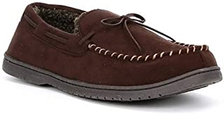 Roundtree & Yorke Men's Whipstitch Moccasin Slippers, Coffee Brown (S 7-8)