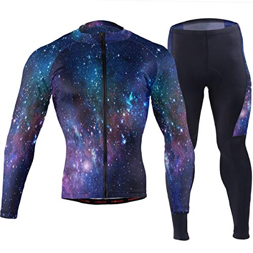 SLHFPX Mens Cycling Jersey Outer Space Galaxy Long Sleeve MTB Bike Shirt Pad Pants Outfit