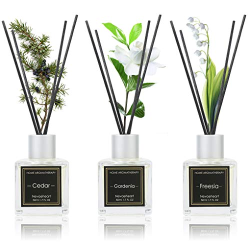 NEVAEHEART Reed Diffuser Set of 3 | Gardenia/Freesia/Cedar 1.7OZ x 3 | Oil Diffuser & Scented Sticks | Room Freshener Home Decor & Office Decor | Room...