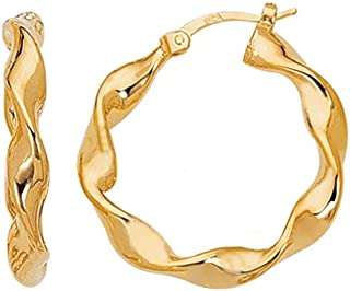 14ct Yellow Gold Shiny Large Twisted Hoop Earrings With Hinged Clasp